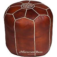 """Moroccan Buzz premium leder pouf ottoman abdeckung 19"""" hoch x 17,5"""" braun preisvergleich bei kinderzimmerdekopreise.eu"""