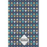 """GM&Co: Notebook Journal Dot-Grid, Lined, Graph, 120 pages 5.5""""x8.5"""": Dark Midnight Triangle Minimal Tribal"""