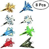 Toyvian 8 unids Pull Back Aircraft Fighter Models Modelos de Aviones Manual Lanzar Aviones de Espuma de Planeador Volando para niños niños Jugando