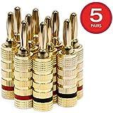 Monoprice 109436 Closed Screw Type Copper Speaker Banana Plugs - 5-Pair