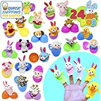 """JOYIN 24 Pieces 2 3/8"""" Finger Puppet Easter Eggs for Easter Theme Party Favor, Easter Eggs Hunt, Basket Stuffers Fillers, Classroom Prize Supplies Toy"""