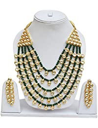 Lucky Jewellery Ethnic Green Color Pearl And Kundan Necklace With Earring For Girls & Women