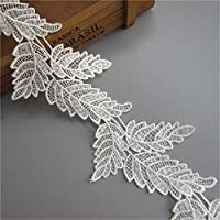 2 Yards Leaf Shape Lace Edge Trim Ribbon 10 cm Width Vintage Style White Trimmings Fabric Embroidered Applique Sewing Craft Wedding Bridal Dress Embellishment DIY Party Decoration Clothes Embroidery