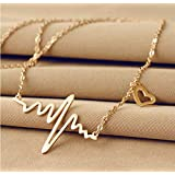 18K Gold Catenary with Necklace Wave heartbeat