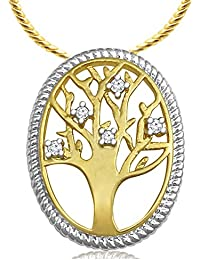 Spargz Tree Of Life Two Tone CZ Diamond Pendant With Snake Chain For Women AIP 162