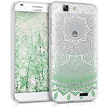 kwmobile Funda para Ascend G7 Huawei - Case de cristal para móvil en TPU silicona - Cover trasero de cristal Diseño sol indio menta blanco transparente