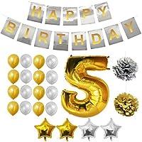 BELLE VOUS Globos Cumpleaños Buon Compleanno, Suministros e Decorazione di Globo Grande de Aluminio - Decorazione Globos De Látex Dorado e Plateado - Aptos para Todos de Peñaños (Age 5)