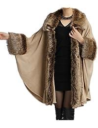 Helan Mujeres Estilo de lujo del manton de la capa de piel falsa del cabo del capote