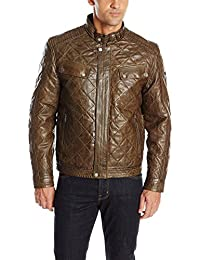 Boston Harbour Vintage Men's Diamond Quilt Distressed Jacket with Chest Pockets