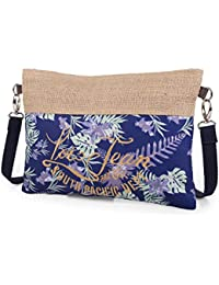 LOIS - 09406 Bolso / Neceser de tela y arpillera con asa de mano. Interior tela con cierre cremallera. Ideal para playa. Decorado en tela.