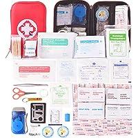 Kompakt Erste Hilfe Set mit 204 Teilen Harte Tasche- Mini First Aid Kit - Wasserdichte Medizinische Notfalltasche für Auto, Zuhause, Büro, Camping, Arbeitsplatz, Wandern, Jagd und Abenteuer