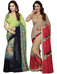 Ishin Combo Of 2 Faux Georgette Green & Beige Printed Women's Sari/Sarees