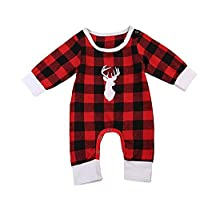 Sunbona Christmas Toddler Baby Boys Girls Deer Head Plaid Long Sleeve Romper Jumpsuit Cotton Warm Pajamas Outfits Clothes (Red, 12~24Months)