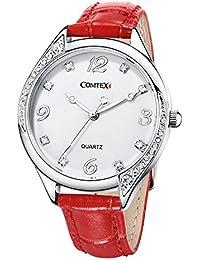Comtex Relojes Mujer Elegantes con Correa de Cuero Rojo Análogo Cuarzo Resistente Agua