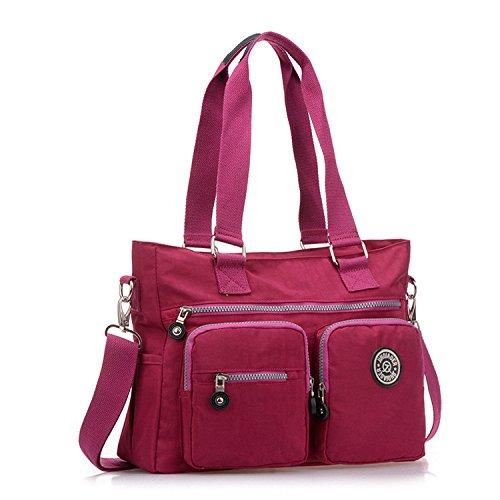 Outreo Sacchetto Donna Borse Mare Borsa Tracolla Borse a Spalla Ragazza Messenger Bag Sport Borsetta Griffate Borsello Impermeabile per Scuola Nylon Rosso One