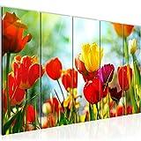 Bilder Blumen Tulpen Wandbild 200 x 80 cm Vlies - Leinwand Bild XXL Format Wandbilder Wohnzimmer Wohnung Deko Kunstdrucke Rot 5 Teilig - MADE IN GERMANY - Fertig zum Aufhängen 201955a
