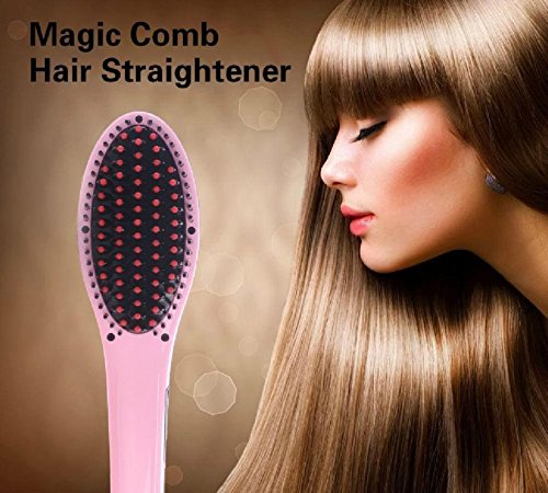 Everbuy ™ New Professional Straightening Irons Brush Hair Straightener with LCD Display Electric Straight Hair Comb Straightener Iron -Pink