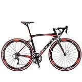 SAVA Kohlefaser Rennrad 700C SHIMANO 3000 18-Gang-Kettenschaltung 8.6kg/18.96lb Ultraleichtes Fahrrad (Schwarz Weiß Rot)