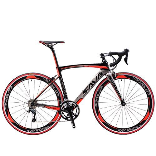 SAVA Kohlefaser Rennrad 700C SHIMANO 5800 22-Gang-Kettenschaltung Rennräder (Rot, 52cm)