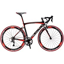 SAVA Bicicleta de Carretera de Fibra de Carbono 700C SHIMANO 5800 22-Velocidad Sistema Modelo Actualizado Bicicleta ultraligera (Negro Gris Rojo, 480MM)