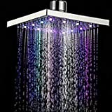 8inch Square Bathroom LED Light Rain Top Shower Head 7 Colors Automatic Changing LED Shower Head 20x20x10cm