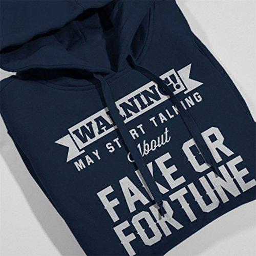 Warning May Start Talking About Fake Or Fortune Women's Hooded Sweatshirt Navy blue