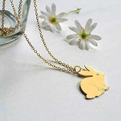 Collier de Lapin Personnalisé en Or, cadeau de Noël, cadeau de Pâques, cadeau d'anniversaire, collier de lapin