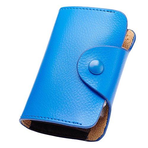 esdrem Leder Kreditkarte Fall Organizer Geldbörse Akkordeon Stil Wizard Brieftasche blau