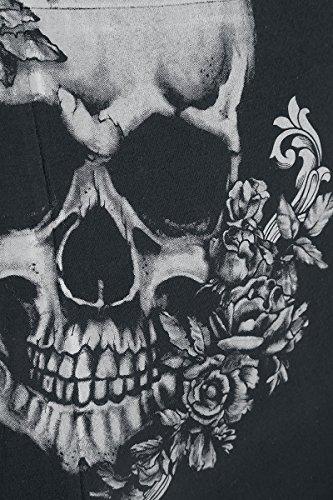 Black Premium by EMP Rose Skull Lace V-Neck Girl-Shirt Schwarz Schwarz