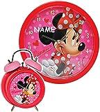 2 TLG. Set Wanduhr & Wecker -  Disney Minnie Mouse  - incl. Name - 25 cm groß - Uhr - Analog - Wohnzimmer & Kinderzimmer - für Mädchen Kinder - Kinderuhr - ..