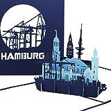 """Pop Up Karte """"Hamburg - Hamburger Hafen Panorama"""" - 3D Gru�karte als Souvenir, Geburtstagskarte & Einladung zur Städtereise"""