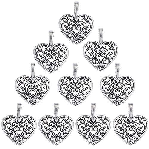 Gudotra 100pz ciondoli albero della vita cuore argento vintage pendentifs per creazione gioielli fai da te collane bracciali per matrimonio battesimo bomboniere