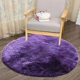 HUIHUI Teppich Tund, 30 x 30 cm Künstlicher Schaffell Teppich Anti-Skid Yoga Teppich Fluffy Teppich für Wohnzimmer Schaffell Stil Teppich (Lila)