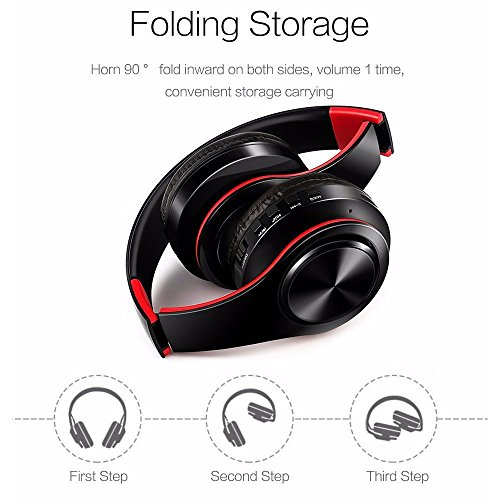 Stereo Gaming Headset, SAZI Sport Kopfhörer Tragbar PC-Headset Wireless Gaming Kopfhörer mit Mikrofon 3.5mm On Ear Surround Sound Ohrhörer (Rot Schwarz)