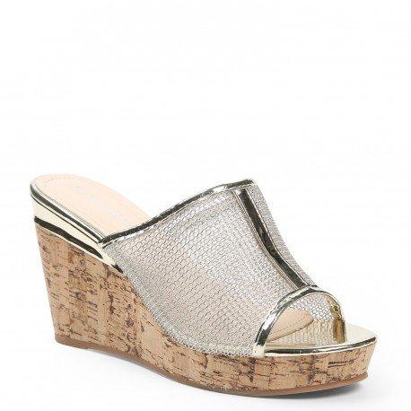 Ideal Shoes - Mules compensées effet mesh Taissie Doree