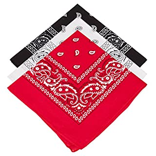 3 Mens Ladies Kids Paisley Bandana Choose from 15 Mixed Sets (Red-White-Black)