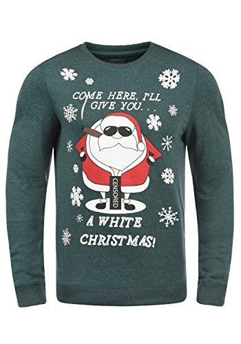 Blend Santa Herren Weihnachtspullover Winter Pullover Strickpullover Weihnachtspulli mit Rundhals-Ausschnitt, Größe:XXL, Farbe:Pine Green/Santa (77213)