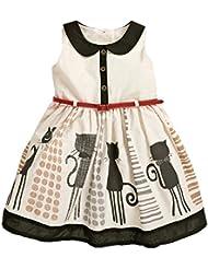 Robe Fille Vêtement sans Manches pour Bébe Fille Enfant Motif Chat