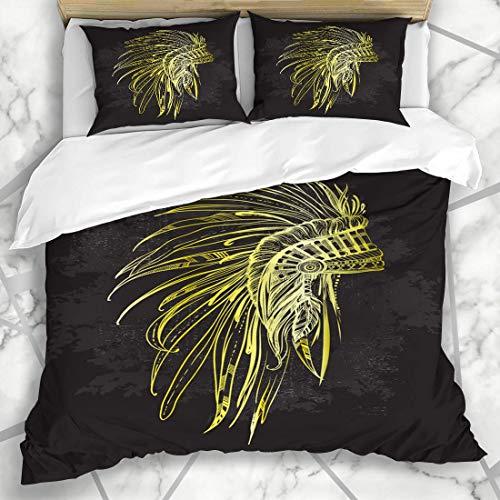 Soefipok Bettbezug-Sets Mohawk American Gold Indianer Kopfschmuck Federn Liebe Vintage Kleid Kopf Perlen Schwarz Kostüm Mikrofaser Bettwäsche mit 2 Kissenbezügen