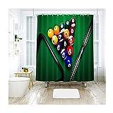 AnazoZ Duschvorhang Badewannevorhang Tischtennis Wasserdicht Anti-Schimmel inkl. 12 Vorhanghaken für Badezimmer Wohnaccessoires Set Badewanne 120x180cm