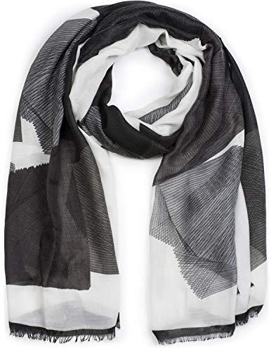 styleBREAKER Damen Schal mit grafischem Linien Muster und Fransen, Stola, Tuch 01017095, Farbe:Schwarz-Grau-Weiß