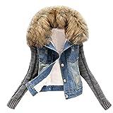 Damen Jeansjacke Mantel,TUDUZ Frauen Herbst Winter Vintage Langhülse Stricken Lose Mädchen Jeans Beiläufige Outwear (Blau, M)