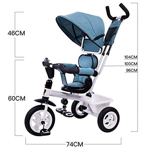 GSDZSY - Triciclo para Niños, Varilla De Empuje Desmontable para Dirección Controlada, El Asiento...