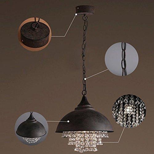 W-LI Tranditional Pendent Lampe mit Kristall Hängelampe E27 Dia 35Cm Industrielle Beleuchtung Deckenleuchten - Große Schüssel Kronleuchter