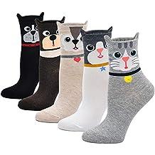 Mogao Caves Calcetines Animales Mujer Calcetines de Divertidos Ocasionales, Mujer Novedad Calcetines de Gato,