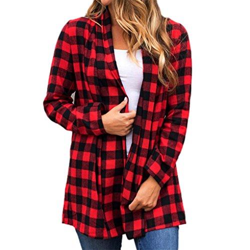 Damen tragen Damenjacke JYJM Karierte Jacke mit langen Ärmeln Frauen-Gitter-Blusen-Wolljacken-lange Hülsen-lose dünne Klage Outwear Mantel-Jacke (S, Rot) (Bluse Womens Designer Ärmellose)