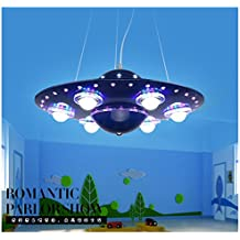 OVNI azul LED lámparas colgantes niños de dibujos animados niños dormitorio iluminación LED sala de estar estudio iluminación restaurante luz za818 LU9 ( Size : Silver )