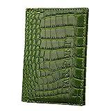 OHQ Porte Passeport Motif Crocodile Organisateur De Couverture Carte D'Identité Roulettes Sac Dos Bandoulieres Pas Cher Marque Veritable (vert)