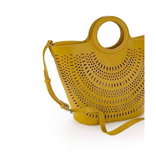 Bolso de mano amarillo para mujer, perforado con asa bandolera