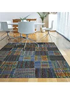Benuta tapis de salon moderne rusty pas cher bleu 200x290 for Amazon tapis de salon